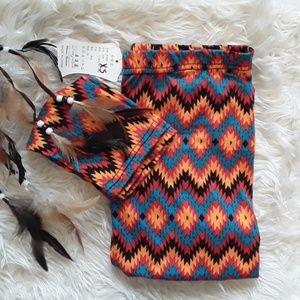 Aztec Print Tribal Leggings Orange Black Red Blue